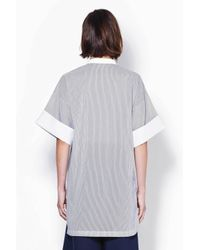3.1 Phillip Lim - Gray Short Sleeve Tunic With Poplin Collar And Cuff - Lyst