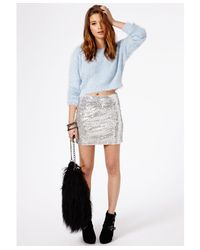 Missguided - Flafica Fluffy Cropped Jumper Blue - Lyst