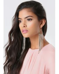 Bebe - Metallic Crystal Fringe Earrings - Lyst