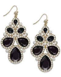 INC International Concepts | Black Gold-tone Jet Stone And Crystal Cluster Drop Earrings | Lyst