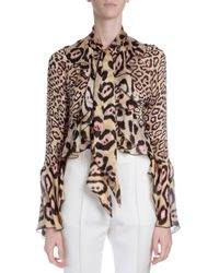 Givenchy - Multicolor Ruffled Silk Button Blouse - Lyst
