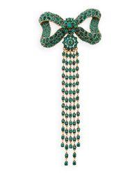 Oscar de la Renta | Green Rhinestone Bow Fringe Pin | Lyst