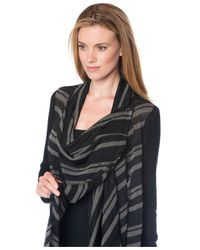 Jessica Simpson - Black Maternity Draped Striped Nursing Cardigan - Lyst