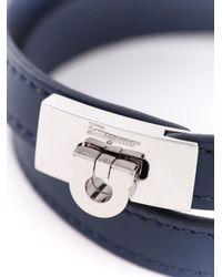 Ferragamo - Blue Gancio Wrap Bracelet for Men - Lyst