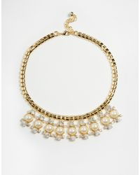 Ted Baker | Metallic Pearl & Crystal Cluster Necklace | Lyst