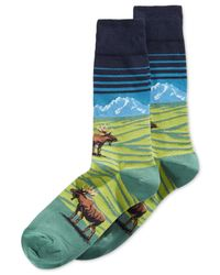 Hot Sox | Green Moose Mountain-scene Crew Socks for Men | Lyst