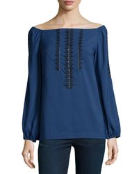 Nanette Lepore - Blue Long-sleeve Embroidered Peasant Top - Lyst