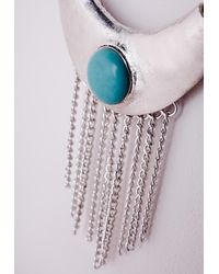 Missguided - Blue Waterfall Chain Stone Detail Necklace Silver - Lyst