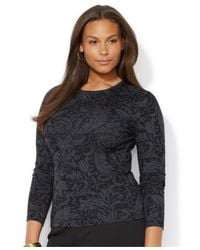 Lauren by Ralph Lauren - Black Plus Size Longsleeve Floralprint Top - Lyst