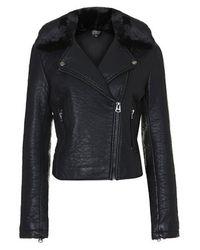 TOPSHOP - Black Ultimate Faux Leather Biker Jacket - Lyst