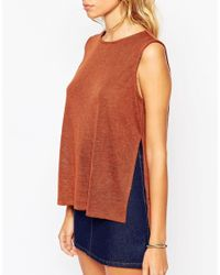ASOS - Brown Petite Lightweight Tank Top With Side Split - Lyst