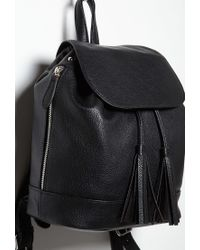 Forever 21 | Black Faux Leather Drawstring Backpack | Lyst