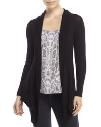 Max Studio | Black Petite Draped Open Front Cardigan | Lyst