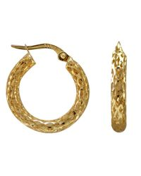 Lord & Taylor | Metallic 14k Yellow Gold Textured Hoops | Lyst