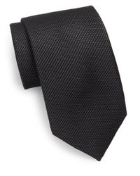 Saks Fifth Avenue | Black Textured Silk Tie for Men | Lyst