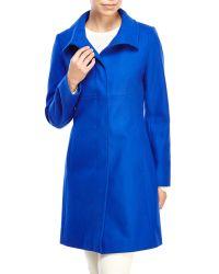 Via Spiga - Blue Stand Collar Wool Coat - Lyst
