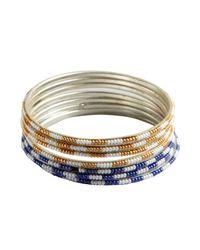 Chamak by Priya Kakkar - Metallic Set Of 8 - Gold And Blue Beaded Bangles - Lyst