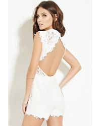 Forever 21 - Natural Scalloped Lace Romper - Lyst