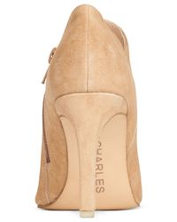 Charles by Charles David | Natural Veer Suede Booties | Lyst