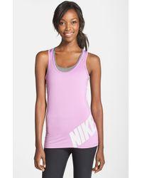 Nike | Purple 'Pro' Dri-Fit Logo Tank | Lyst