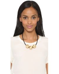 Kenneth Jay Lane | Metallic Sphere Trio Necklace - Gold/black | Lyst