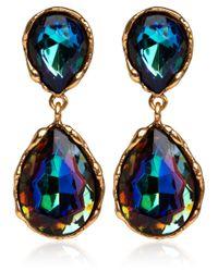 Oscar de la Renta - Blue Iridescent Drop Clipon Earrings - Lyst