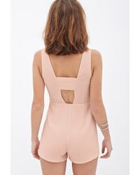 Forever 21 - Pink Woven Cutout Romper - Lyst