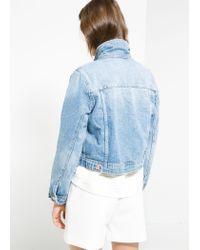 Mango - Blue Cropped Denim Jacket - Lyst