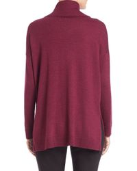 Eileen Fisher - Purple Merino Wool Turtleneck Boxy Top - Lyst