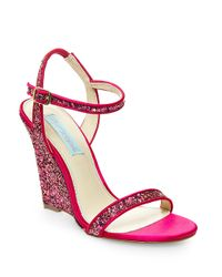 Betsey Johnson | Purple Darci Satin And Glitter Wedge Sandals | Lyst