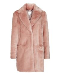 Reiss | Pink Alba Faux-fur Coat | Lyst