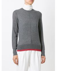 Tory Burch - Gray Contrast Hem Sweater - Lyst