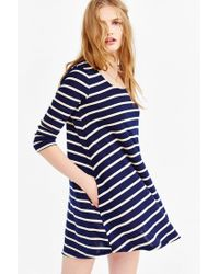 BDG - Blue 3/4 Sleeve Swingy Tee Dress - Lyst