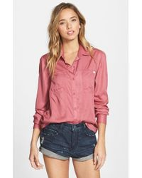 RVCA - Pink 'tricks Of Trade' Button Front Collared Shirt - Lyst