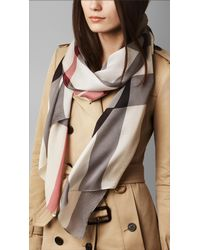 Burberry | Gray Check Silk Satin Scarf | Lyst