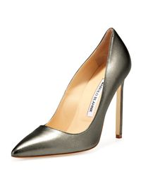 Manolo Blahnik - Gray Bb Metallic Leather 115mm Pump Anthracite Made To Order - Lyst