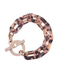 Michael Kors | Pink Tortoise Link Pave Toggle Bracelet | Lyst