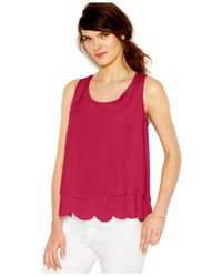 Maison Jules | Pink Tiered Scallop-trim Tank Top | Lyst