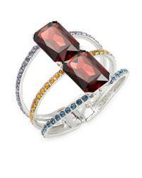 Oscar de la Renta - Multicolor Octagon Stone And Crystal Cuff Bracelet - Lyst
