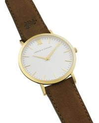 Larsson & Jennings | White 'lãder Brown' Leather Strap Watch | Lyst