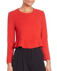 A.L.C. | Red Ann Peplum Top | Lyst