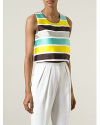 MSGM - Multicolor - Cropped Striped Top - Women - Silk/cotton/polyamide/polyester - 44 - Lyst