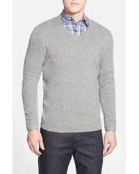 John W. Nordstrom | Gray Cashmere V-neck Sweater for Men | Lyst