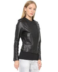 Nour Hammour | Erin Studded Leather Jacket - Black/black | Lyst