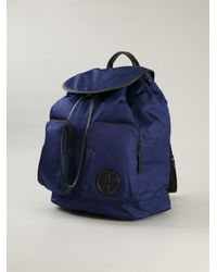 Giorgio Armani - Blue Leather Trim Backpack for Men - Lyst