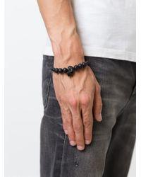 Alexander McQueen - Black Onyx Beaded Skull Bracelet for Men - Lyst