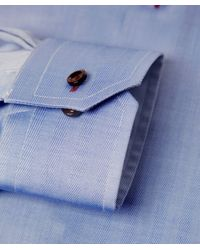 Eton of Sweden - Blue Contemporary Fit Herringbone Shirt for Men - Lyst