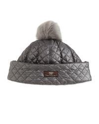 UGG - Gray Quilted-fabric Hat W/ Shearling Fur Pompom - Lyst