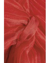 Valentino   Red Plissã© Organza-Trimmed Stretch-Jersey Top   Lyst