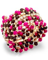 INC International Concepts | Pink Gold-tone Multi Bead And Crystal Coil Bracelet | Lyst